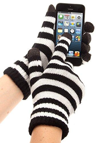 Trendz Touchscreen Handschuhe in stilvollem Streifen-Design Kompatibel mit Smartphones, Tablets und MP3 Geräten einschließlich iPhone 4/4S/5/5S/5C/6/6 Plus, iPad 2/3/4/Air/Mini, iPod Nano 7. Generation, iPod Touch 5. Generation, Samsung Galaxy S2/S3/S4/S5, Galaxy Note 2/3, Galaxy Tab 2/3/4, Xperia Z1/Z2, HTC One/One M8 und Google Nexus 5/7/10 - Schwarz/Weiß gestreift