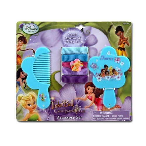 Disney Fairies 7pc Tinkerbell Hair Accessory Set - Tinkerbell Vanity Set - Tinkerbell Hair Set