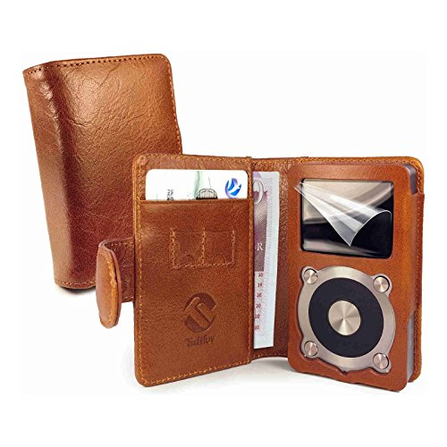 tuff-luv-vintage-genuine-leather-wallet-case-cover-for-fiio-x5-2nd-gen-free-screen-protector-brown