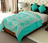 Home Candy Floral Cotton Single Bed Duvet Cover with Zipper - Green