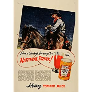 1937 Ad Cow Puncher Cowboys Beverage Heinz Tomato Juice - Original Print Ad