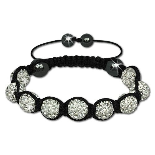 SilberDream Crystal White Bead Shamballa Bracelet unisex with 12mm white Zirkonia iced out Disco ball beads and 4 Hematite beads SDA921