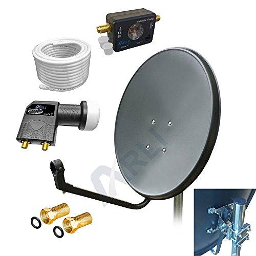60 cm Digitale HD SAT Anlage GRAU Twin LNB SATFINDER 15m KABEL 2 Teilnehmer Antenne