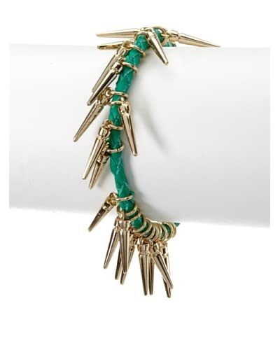Rebecca Minkoff The Spikey Green Leather Bracelet