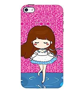 PrintDhaba Cute Girl D-2920 Back Case Cover for APPLE IPHONE 4 (Multi-Coloured)