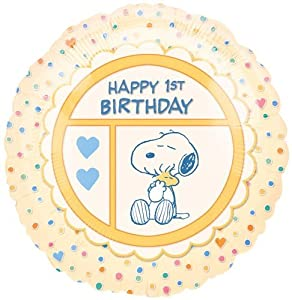 "Peanuts Happy 1st Birthday 18"" Mylar Balloon"