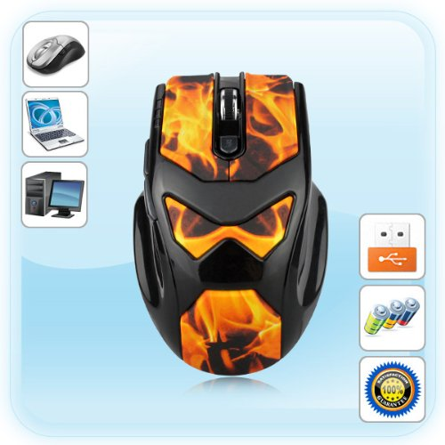 2.4G Wireless PC game Mouse flame print 6 butto