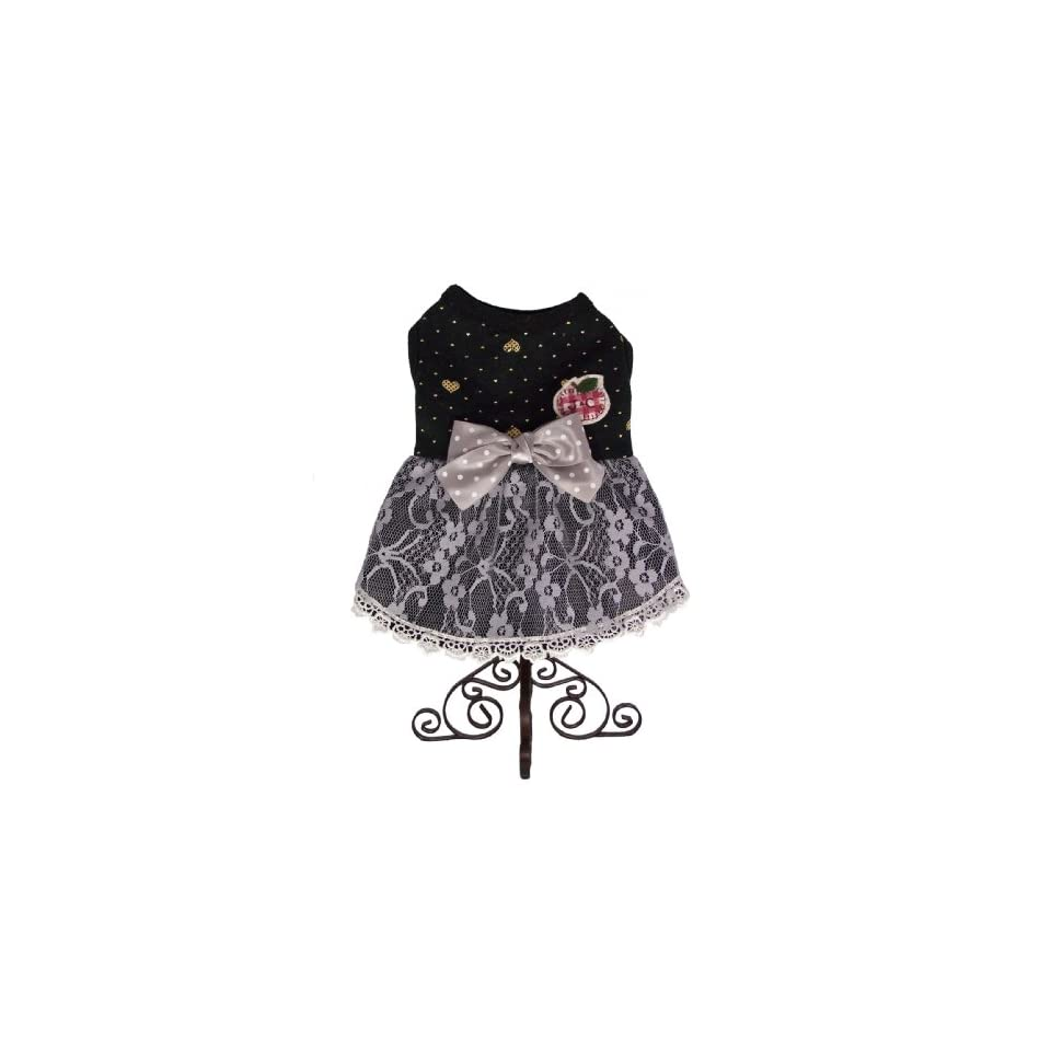 Dog and Cat Beautiful High Quality Black DRESS   X Small   Black and Gray   Mommy, I Look Like a Princesses   Only 1 Left