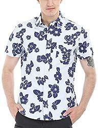 Zobello Men's Holiday Print Miami Shirt(11085F_Navy Floral Print with Stripes_Large)