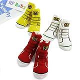 KF Baby Non-Skid Baby Boy Sneaker Socks, 3 pairs (12 - 24 Months)