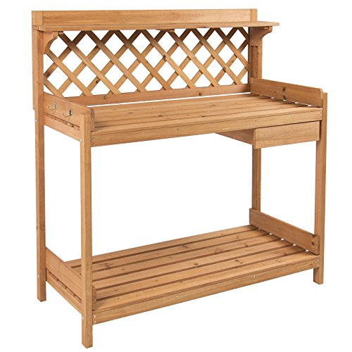 Potting Bench Outdoor Garden Work Bench Station Planting Solid Wood Construction (Milk Shed Heater compare prices)