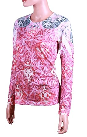 Laura Ashley Women's Long Sleeve Top (Small, Red/Pink)
