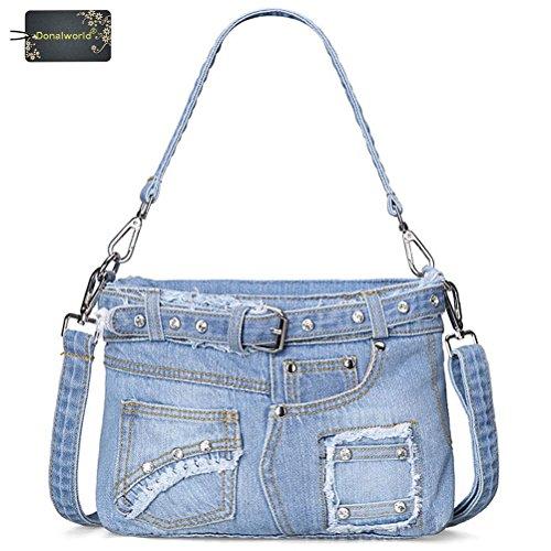 Donalworld Lady Denim Handbag Fashion Casual Denim Bag Shoulder Messenger Handbag Pattern2