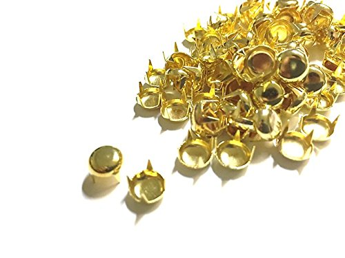 100pcs Gold 5mm Round Studs for Punk, Rock Goth Biker Fashion DIY STUD