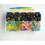 200pcs Alphabet Perlen 100 Stück S / C-Clips 10 Charms drei Haken ein Box-Set Fit Gummibänder