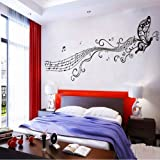 BUTTERFLY & MUSIC NOTES VINYL WALL STICKER ART HOME ROOM DECOR DECAL REMONABLE (Black)