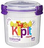Sistema 700ml Polyproplene Round Container with Strainer Clips and Seals, Lime/ Aqua/ Purple/ White
