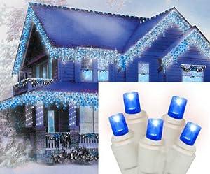 set of 70 blue led wide angle icicle christmas. Black Bedroom Furniture Sets. Home Design Ideas