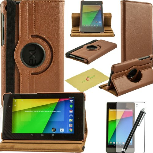 Fulland Colorful 360 Rotating Flip Leather Case Cover for Google Nexus 7 (2nd Generation 2013 Version) with Smart Auto Wake/Sleep Function plus Stylus Touch Screen Pen and Screen Protector-Brown
