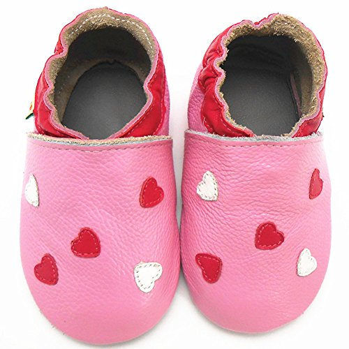 Sayoyo Baby Heart Soft Sole Leather Baby Shoes Baby Moccasins (3-6 months , Pink)