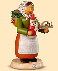 German incense smoker Mulled Wooden-toy seller, female, height 24 cm / 9 inch, original Erzgebirge by Mueller Seiffen from Müller Seiffen