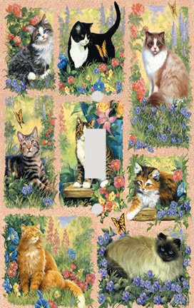 Cats and Flowers Collage Decorative Switchplate Cover