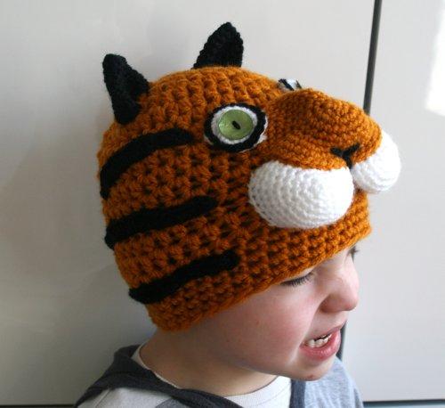 Crochet pattern tiger beanie hat 5 sizes newborn to adult (45) (crochet hat)
