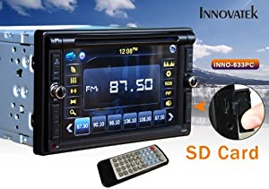 "Innovatek IN-633PC In-Dash 6.2"" Touch Screen Double Din CAR Radio GPS DVD MP3 CD Player with Bluetooth, frontal USB, SD and 3.5mm Aux inputs, and VGA input"