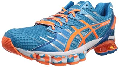 ASICS Men's Gel-Kinsei 4 Running Shoe,Island Blue/White/Flash Orange,8 M US