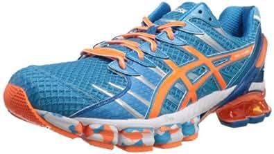 ASICS Men's Gel-Kinsei 4 Running Shoe,Island Blue/White/Flash Orange,8.5 M US
