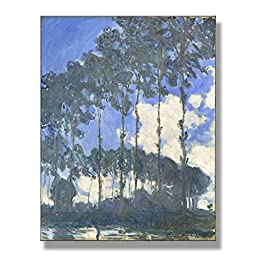 Claude Monet Poplars At The River Epte 1891 Original Landscapes Oil Painting Reproduction on Gallery Wrapped Canvas 24X30 inch