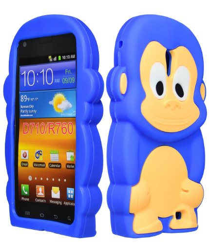 Bastex Silicone Character Case for Sprint Samsung Galaxy S2, Epic 4G Touch D710 - Blue & Brown Monkey (Sprint Samsung Galaxy S2 Case compare prices)