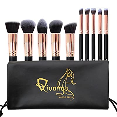 Qivange Makeup Brushes, Premium Synthetic Kabuki Make-up Brush Set Foundation Eyeshadow Blush Concealer Powder Brush Kit + Pouch ( 10pcs, Black with Rose Gold)