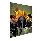 """Bilderdepot24 Immagine su tela """"Musical Grunge Background II"""" - 60x70 cm 2 pezzi - incorniciato direttamente dal..."""