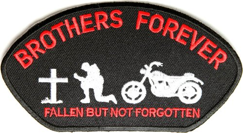 Brothers Forever Biker Patch for Vets, 5x2.75 inch, small embroidered biker patch, iron on or sew