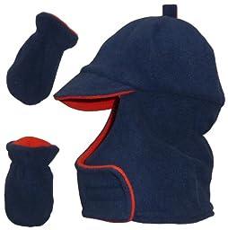 N\'ice Caps Boys Wrap Around Fleece Jockey Hat and Mitten Set (12-24 months, navy/red)