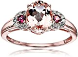 10k Rose Gold Morganite, Pink Tourmaline and Diamond 3-Stone Engagement Ring (1/10cttw, H-I Color, I1-I2 Clarity), Size 7