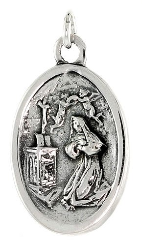 Sterling Silver Mary Magdalene Medal Necklace, Oval 1 inch