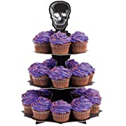 Wilton 1512-135 Halloween CupCake Stand and Holder With Skulls 3TIER