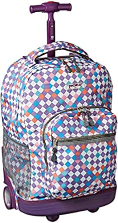 J World New York Sunrise Rolling Backpack, Checkmate, One Size