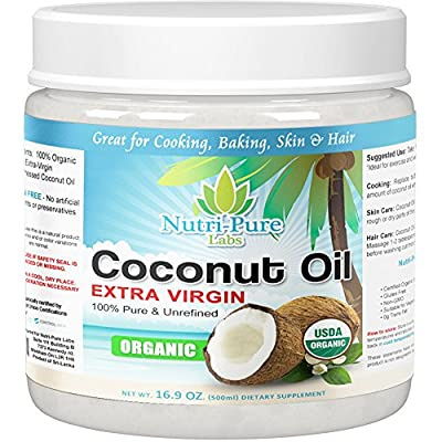 Nutri-Pure Labs Extra Virgin, Organic, Coconut Oil. 16.9 OUNCES!! Cold Pressed, Unrefined, Gluten Free and Non-GMO - GREAT for Cooking, Baking, Skin and Hair!!