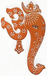 Indian Art Wall Decor Hanging Painting of Lord Ganesha & Spiritual Om - Authentic Handmade Hindu Art of Prosperity - In Copper Shade