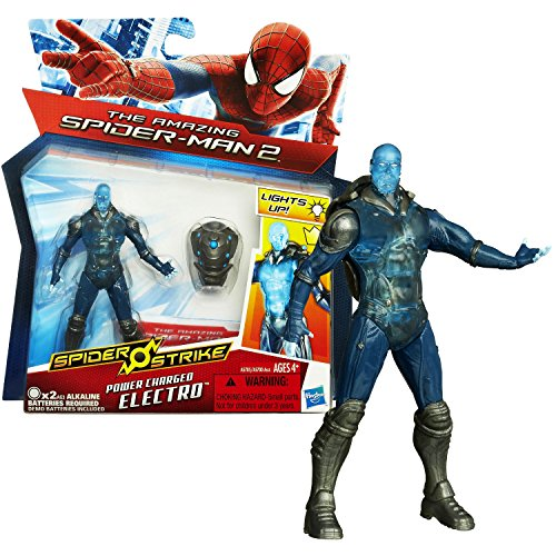 "Hasbro Year 2014 ""The Amazing Spider-Man 2"" Spider Strike Series 4-1/2 Inch Tall Action Figure - POWER CHARGED ELECTRO with Light-Up Backpack"
