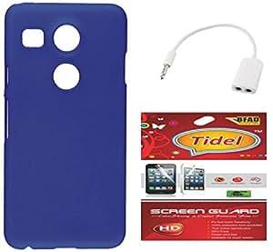 Tidel Blue Matte Finish Rubbrised Slim Hard Back Cover For LG Nexux 5X With Tidel Screen Guard & AUDIO SPLITER