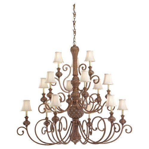 B001CAAMYQ Sea Gull Lighting 31253-758 Chandelier with Fawn Fabric Shades, Regal Bronze Finish
