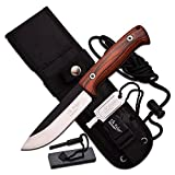 Master Cutlery Elk Ridge Satin Blade Folding Knife with Pakkawood Handle & Sheath, Brown, 10.5""