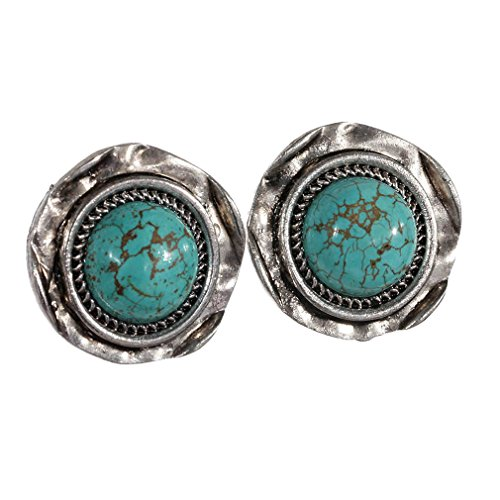 Yazilind On Sale! Retro Rimous Tibetan Sliver Turquoise Round Clip On Earrings Girls