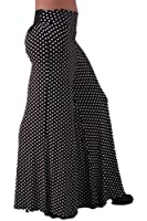 EyeCatchClothing - Polka Dot Cool Spotty Flared Palazzo Trousers