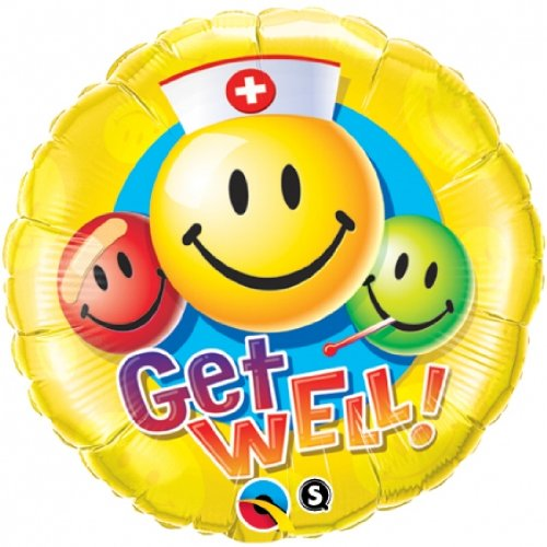 "Pioneer Balloon Company Get Well Smiley Face Balloon, 18"", Multicolor"