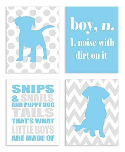 The Kids Room by Stupell Snips and Snails and Puppy Dog Tails 4-Pc Rectangle Wall Plaque Set